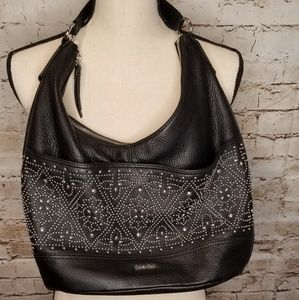 NWOT Calvin Klein black leather studded purse